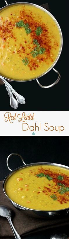 Red Lentil Dahl Soup is easy to make but has a couple of unusual steps to complete this flavorful and satisfying soup. ~ http://veganinthefreezer.com
