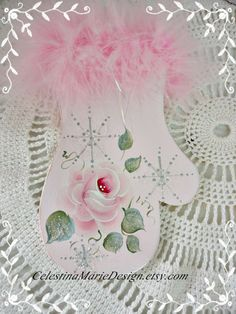 Cottage Pink Mitten Ornament Hand Painted by CelestinaMarieDesign, $12.00