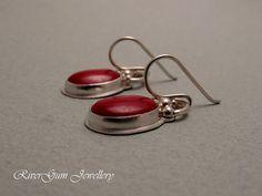 Red Coral Earrings Cabochon Earrings Sterling by RiverGumJewellery, $64.00