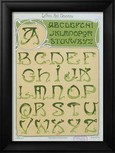 'Art Nouveau' Alphabet. 1903 (colour litho), Mulier, E. (fl.1900) / Bibliotheque Nationale, Paris, France / Archives Charmet / The Bridgeman Art Library