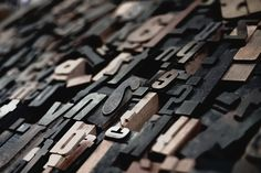 Close-up of pieces of wooden type