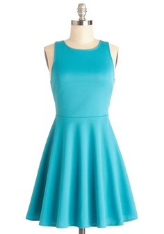 Dimensional Diva Dress by Motel - Mid-length, Knit, Blue, Solid, Cutout, Casual, A-line, Sleeveless, Better