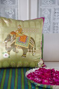 """SERAI CUSHIONS The designs in """"Serai"""" are structured in the manner of a Modern Tapestry. Each one tells a part of the story of the romantic journey of Emperor Jehangir and Noor Jehan to Kashmir from the dusty plains of Delhi, the elements of nature they would have encountered on the way, as well as capturing the decorative motifs that were a part of their own world. #Serai #FarahBaksh"""