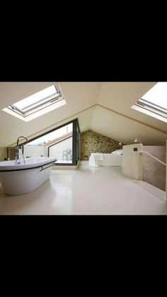 - #dachfenster Attic Master Bedroom, Attic Bedrooms, Bedroom Loft, Huff House, Roof Design, House Design, Attic Shower, Attic Conversion, House Deck