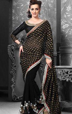 Stunning Black color Indian Party Wear Saree INHSPKALA1029 - www.indianwardrobe.com