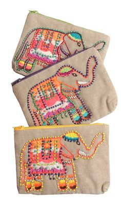 Irresistible seed bead embellished elephant pouches! $19