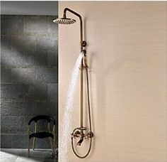 Rozinsanitary Traditional Antique Brass Shower Faucet Set Vintage 8 Inch Shower Head W/ Hand Shower Dual Handles