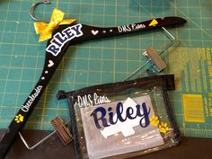 Personalized Cheerleader uniform hanger and make up bag for sweet Riley #cheergift