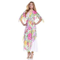 Vicky Tiel Spring Rose Long Caftan with Lace Detail