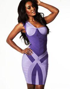 Herve Leger One Shoulder Nicole Colorblock Bandage Dress