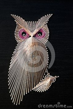 Owl String art by Monicue1, via Dreamstime