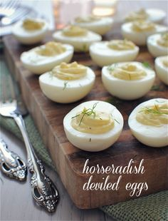 Horseradish Deviled Eggs for Jenny's Baby Shower! | Bev Cooks. Links to more recipe sites