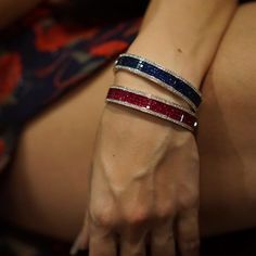 Invisibile setting bangles in rubies and blu sapphires, surrounded by white diamonds… Diamond Bracelets, Bangle Bracelets, Ladies Bracelet, Ruby Bracelet, Heart Bracelet, Ruby Bangles, Silver Bangles, Gold Bangles Design, Modern Jewelry