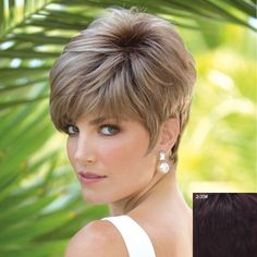 Vogue Short Capless Spiffy Towheaded Side Bang Natural Straight Real Natural Hair Wig For Women