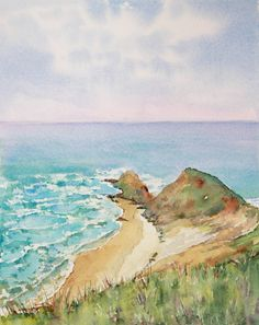 Cape Reinga, NZ. Watercolour. Watercolor Paintings, Watercolour, Google Images, Mountains, Road Trips, Cape, Travel, Outdoor, Inspiration