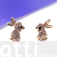 Small Bunny Rabbit Animal Stud Earrings in Rose Gold with Rhinestones $6 #bunny #rabbit #animals #jewelry #earrings