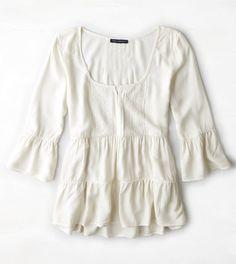 AEO Tiered Ruffle Shirt | Medium, White or Candy
