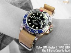 MiLTAT 20mm G10 military watch strap ballistic nylon armband, PVD – Blue, White & Green [20A20DZZ00N2P22] demo on Rolex GMT-Master II 116710 BLNR, Blue & Black Ceramic Bezel MiLTAT G1…
