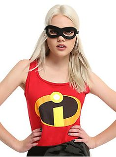 You'll be ready to take on all the evil supervillains of the world in this bold, dramatic and heroic cosplay style tank top from Disney Pixars's