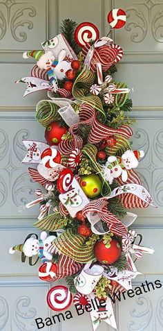 Christmas Centerpiece-Table by BamaBelleWreaths on Etsy Christmas Swags, Christmas Deco, Christmas Home, Crochet Christmas, Christmas Centerpieces, Table Centerpieces, Snowman Wreath, Shabby Chic Pink, Deco Mesh Wreaths
