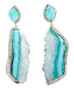 Kara Ross New York Petra earrings featuring raw hemimorphite, raw Quartz and Pave Diamonds set in Yellow Gold Raw Gemstone Jewelry, Gold Jewelry, Jewelry Accessories, Fine Jewelry, Jewelry Design, Opal Jewelry, Jewellery, Saphir Rose, Schmuck Design