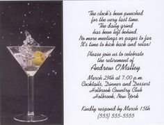 Cool retirement flyer funny retirement invitations jpg 324x324 cool martini toast retirement party invitations stopboris Image collections