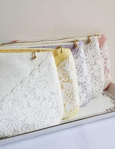 5 SET Color Linen Lace Bridesmaid Clutch Handmade Women Purse Bride Pouch Bridesmaids Gift Weddings Dinner Clutch Party Clutch