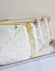 5 SET Color Linen Lace Bridesmaids Clutch Handmade Women Purse Bridal Pouch Bridesmaids Gift Weddings Dinner Clutch Party Clutch