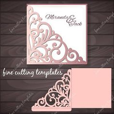 Wedding Invitation Pocket Envelope template for cutting, patterned corner, laser cut. Digital Instant Download, (svg, dxf, eps10, studio3)