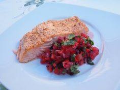 Grilled Salmon with Beetroot, Tomato and Red Bell Pepper Salad, the perfect summer lunch.