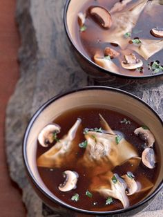 For this low-calorie soup, you make your own ravioli by stuffing wonton wrappers with a mushroom and cheese filling.