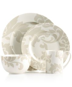 Martha Stewart Collection Lisbon Grey 4-Piece Place Setting - Casual Dinnerware - Dining & Entertaining - Macy's