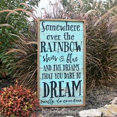 Over the RAINBOW Rustic Wood Sign / 17 x 31 / Hand Lettered / Fixer Upper / DREAM / Wall Art / Framed / Reclaimed Wood Sign / Wizard OZ by mangoseedmarketplace on Etsy