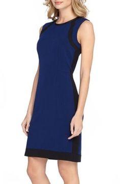 NWT-Tahari-6229M451-Colorblock-Crepe-Sheath-Dress-29-BLUE-18