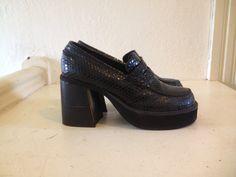 90s Leather Black Snakeskin Platform Loafer Stacked Heel 9 via Etsy