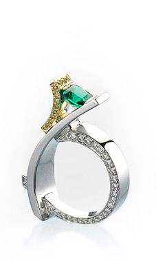 Elite Emerald Ring (Platinum and 18k yellow gold ring featuring a 0.90ct cushion cut emerald, 0.18ctw yellow diamonds and 0.56ctw white diamonds.)    http://www.markschneiderdesign.com/home/colors.html