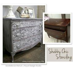 This lovely dresser was finished by stockist Peinture in Costa Mesa, CA! Paris Grey Chalk Paint® decorative paint by Annie Sloan was dry brushed then beautifully stenciled and distressed in Old White!