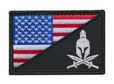 Tactical USA Flag / Spartan Head Molon Labe Military Morale Patch