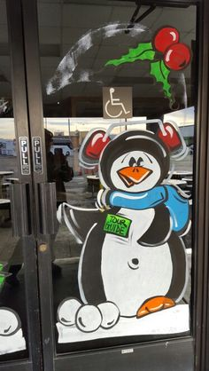 'Tour Guide' penguin at Grand Canyon Tour Company Christmas Windows, Christmas Door, Christmas 2017, Painted Window Art, Grand Canyon Tours, Store Window Displays, Christmas Paintings, Window Ideas, Window Design