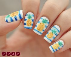 notyouraveragenails:  Pineapple Breeze Apparently the beginning of summer means fruit inspired designs. I'm not sure why but I'll go with it...