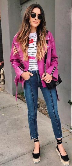 stylish look pink jacket + tee + bag + jeans