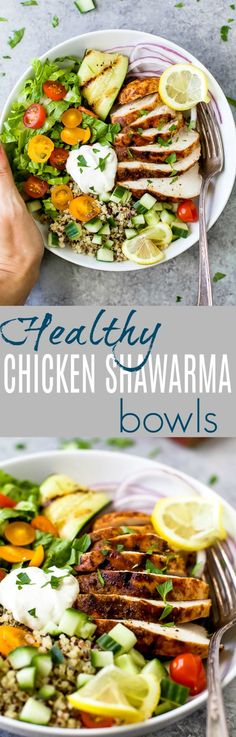 Healthy Chicken Shawarma Bowl served on a bed of quinoa and lettuce then topped with a Garlic Yogurt Sauce. This flavorful gluten free dinner recipe will be devoured in minutes. via @jheats