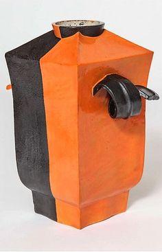 A Handmade Wiener Werkstätte Vase with Applied Handles by Hilda Jesser with Black and Orange Glazes. Mint Condition, Vienna, Impressed Marks on underside WW, MADE IN AUSTRIA, Vienna Secession, Vases For Sale, Ceramic Vase, Cool Furniture, Vintage Shops, Glass Art, Coffee Maker, Mint, Ceramics