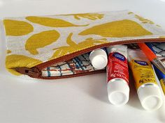 Linen zipper pouch with hemp and cotton lining hand screen printed by FemkeTextiles on Etsy