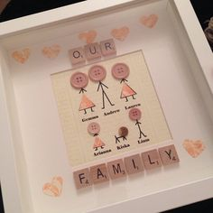 Lovely family frame personalised with choice of colour paper and buttons, add up to 8 people/pets. Choose to personalise with letter beads or scrabble tiles, see photos for some options. At checkout please send me list of names from tallest to shortest with the age to give me a rough idea on size Box frame is 10. Available in black or white.