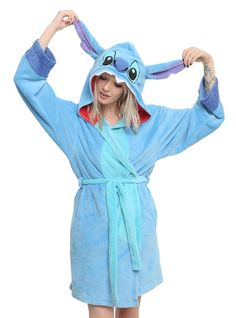 Fleece robe from Disney's Lilo & Stitch with an allover Stitch design including a belted waist and hood