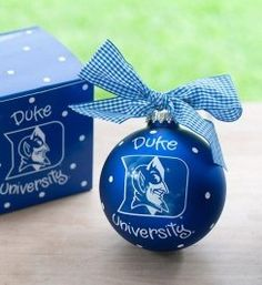 Any fan will love this Duke Logo Ornament. You'll be proud to showcase your school pride during the holiday season with this spirited ornament featuring the Duke logo and school colors!  All collegiate ornaments come boxed and tied with a coordinating ribbon making them the perfect gift for anyone.