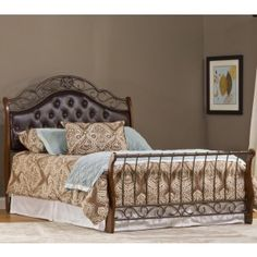 Hyde Park Faux Leather Upholstered Bed in Brown by Hillsdale Furniture