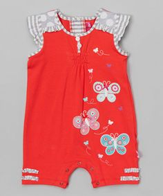 Another great find on #zulily! Red Butterfly Romper - Infant #zulilyfinds