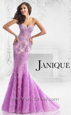 Janique Corset Bodice Textured Embellished Mermaid Gown